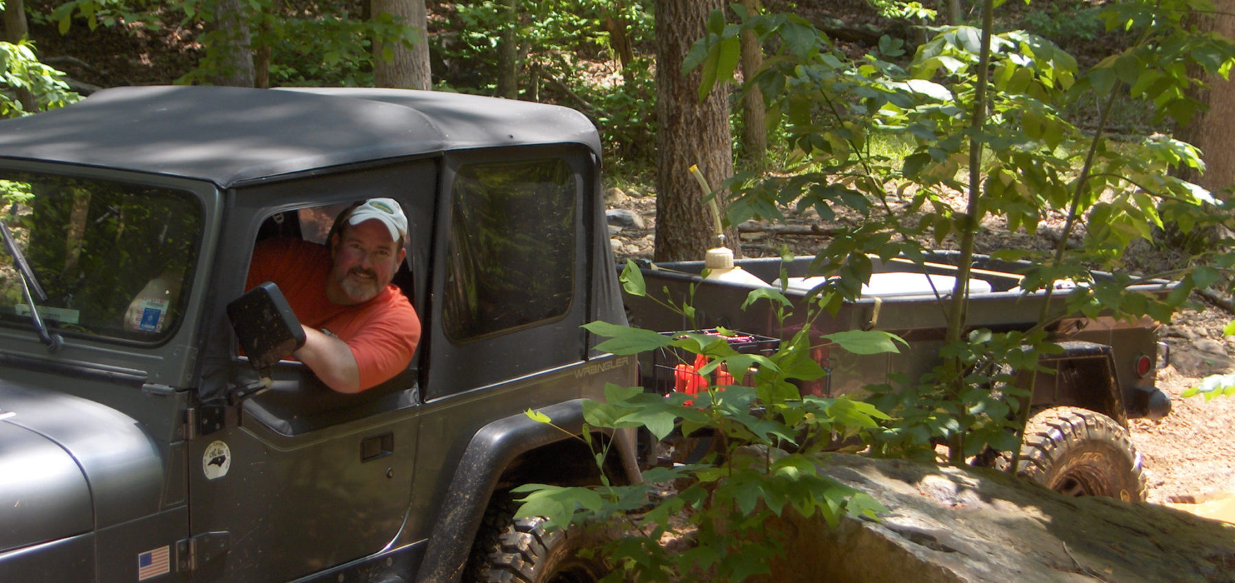 Ralph with trailer at Uwharrie - central NC 4x4 trail cleanup